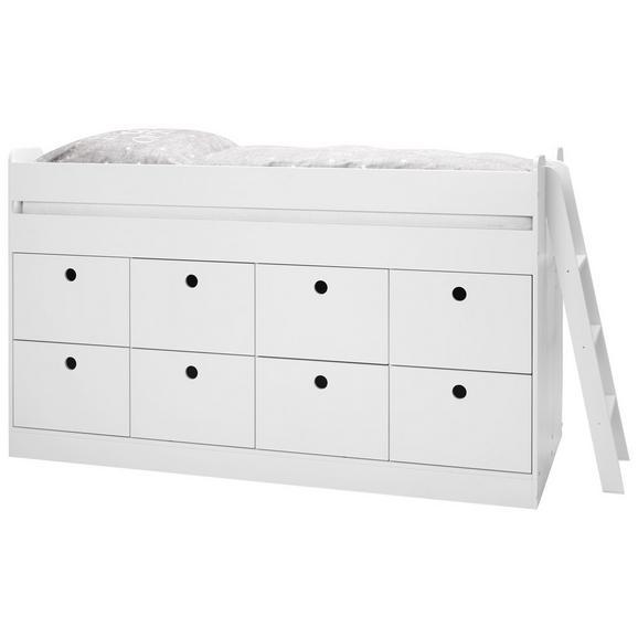 Hochbett aus Buche Massiv ca. 90x200cm - Weiß, ROMANTIK / LANDHAUS, Holz/Holzwerkstoff (203,6/121/95cm) - Premium Living