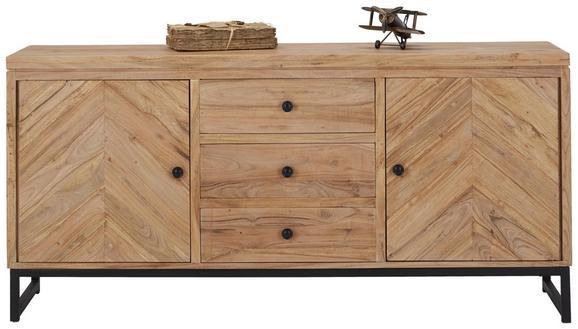 Sideboard Akaziefarben/Schwarz - Schwarz/Akaziefarben, LIFESTYLE, Holz/Metall (160/75/40cm) - ZANDIARA