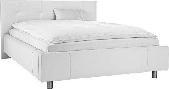 Bett Weiß 140x200cm - Silberfarben/Weiß, MODERN, Holzwerkstoff/Kunststoff (140/200cm) - MODERN LIVING