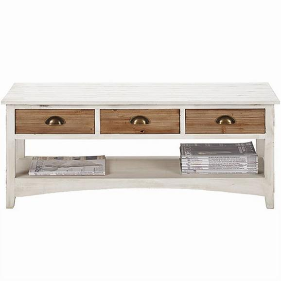 TV-Element Antibes - Naturfarben/Weiß, KONVENTIONELL, Holz/Metall (110/37/45cm) - Premium Living