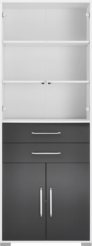 Aktenregal in Weiß, exkl. Fronten - Silberfarben/Weiß, MODERN, Holzwerkstoff/Kunststoff (80/214,5/40cm) - Mömax modern living