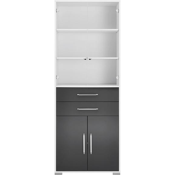 Aktenregal Weiß - Silberfarben/Weiß, MODERN, Holzwerkstoff/Kunststoff (80/214,5/40cm) - Mömax modern living