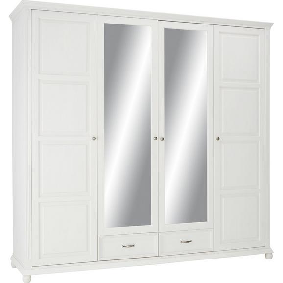 Drehtürenschrank in Weiß Aus Massiv Holz - Weiß/Kieferfarben, ROMANTIK / LANDHAUS, Holz/Holzwerkstoff (235/220/65cm) - Zandiara