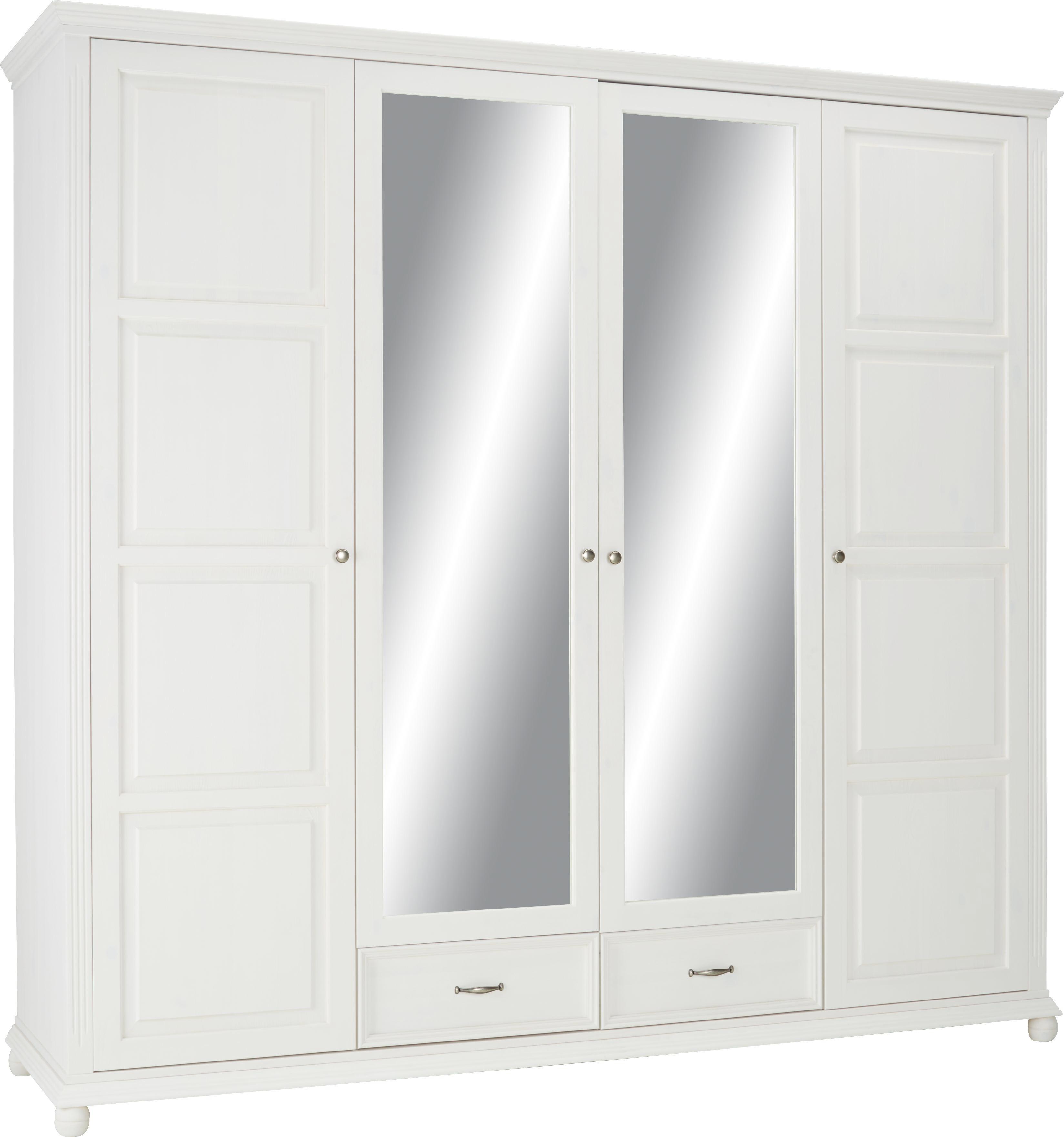 Drehtürenschrank in Weiß - Weiß/Kieferfarben, ROMANTIK / LANDHAUS, Holz/Holzwerkstoff (235/220/65cm) - ZANDIARA
