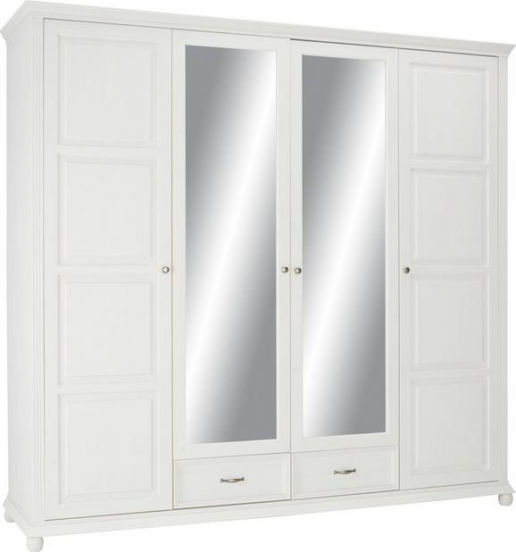 Drehtürenschrank Weiß/Spiegel - Weiß/Kieferfarben, ROMANTIK / LANDHAUS, Holz/Holzwerkstoff (235/220/65cm) - Zandiara