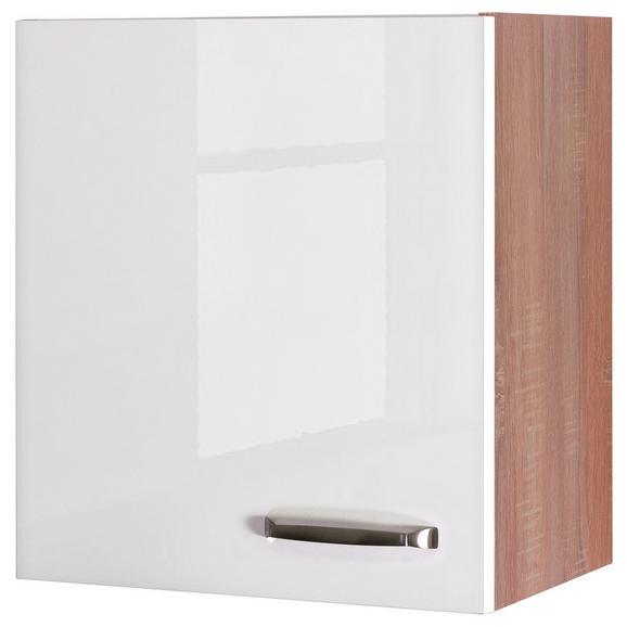 Küchenoberschrank Weiß Hochglanz/Eiche - Edelstahlfarben/Eichefarben, MODERN, Holzwerkstoff/Metall (50/54/32cm) - FlexWell.ai