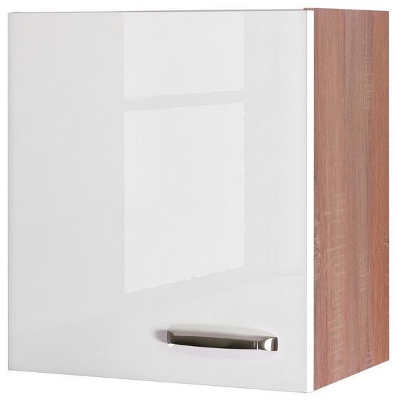 Küchenoberschrank Weiß Hochglanz/Eiche - Edelstahlfarben/Eichefarben, MODERN, Holzwerkstoff/Metall (50/54/32cm)