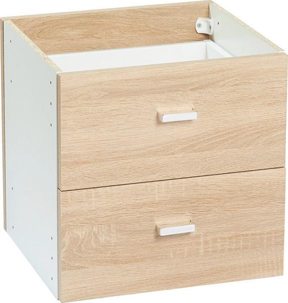Schubladenset aus Eiche - Chromfarben/Eichefarben, MODERN, Holz/Kunststoff (35/35/33cm) - MÖMAX modern living