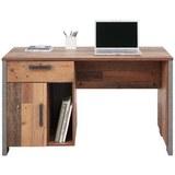 Schreibtisch Braun/dunkelgrau - Dunkelgrau/Schwarz, MODERN, Holzwerkstoff/Kunststoff (126,5/73,5/60cm) - Premium Living