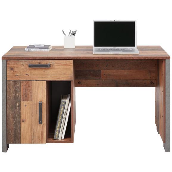 Schreibtisch in Braun/Dunkelgrau - Dunkelgrau/Schwarz, MODERN, Holzwerkstoff/Kunststoff (126,5/73,5/60cm) - Premium Living