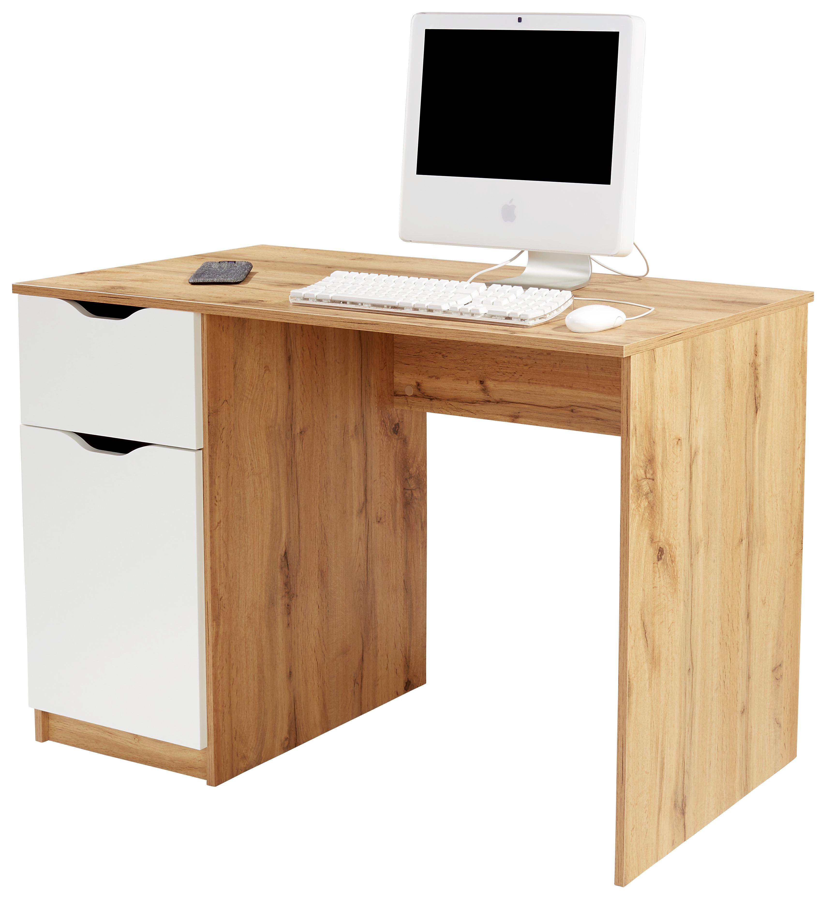 Íróasztal West 1 - tölgy színű/fehér, modern, faanyagok (116,4/76/60cm)