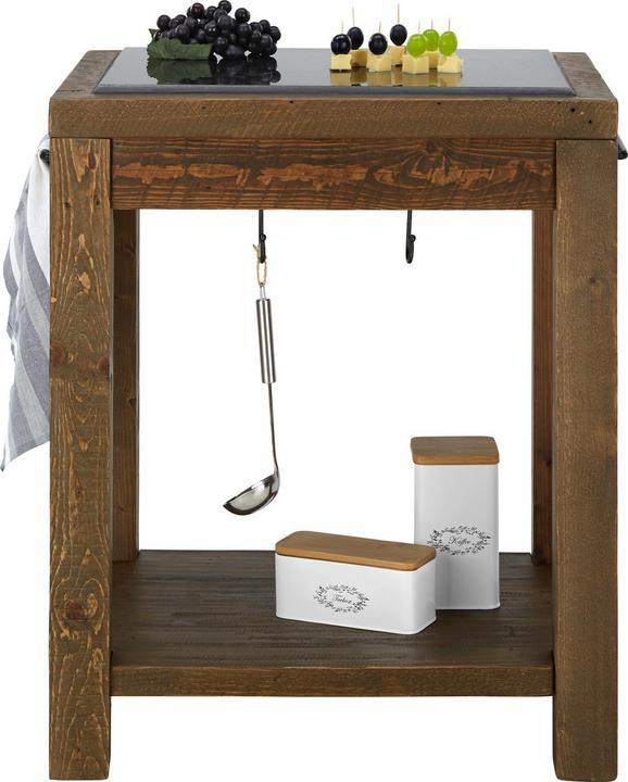Küchenarbeitstisch aus Echtholz - Naturfarben/Grau, LIFESTYLE, Holz/Stein (70/55/85cm) - PREMIUM LIVING