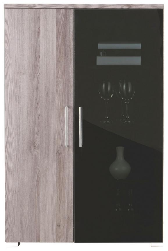 Vitrine in Lärchefarben - Chromfarben/Silberfarben, MODERN, Holzwerkstoff/Kunststoff (80/121/45cm) - Premium Living
