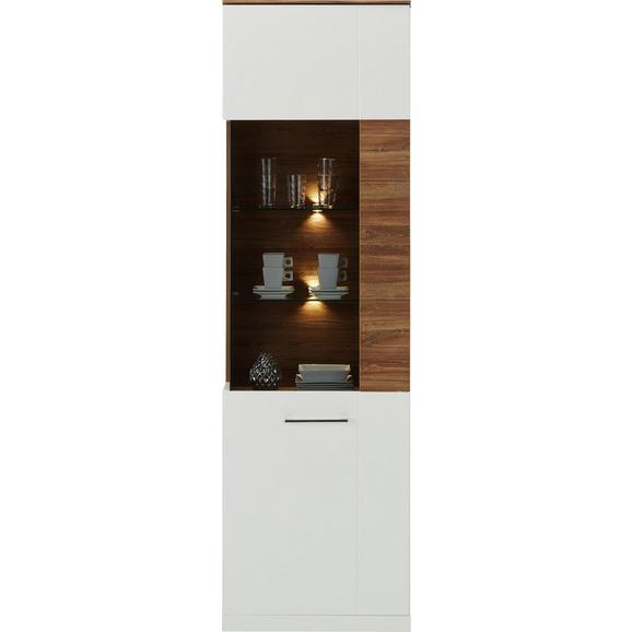 Vitrine in Weiß Hochglanz - Weiß/Akaziefarben, MODERN, Holzwerkstoff (60/202/40cm) - Premium Living