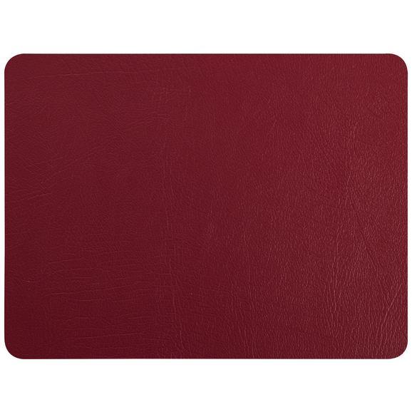 Tischset Jette aus Leder in Weinrot - Weinrot, Leder (42/33cm) - Premium Living