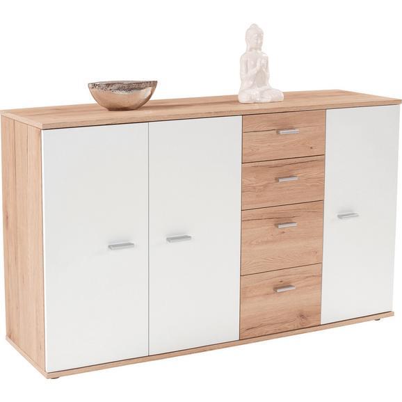 Comodă Graz - alb/culoare lemn stejar, Modern, compozit lemnos (155/82,4/35,5cm)