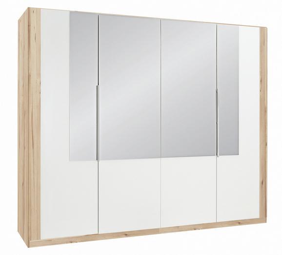 Drehtürenschrank Weiß/Eiche- Spiegel - Eichefarben/Weiß, MODERN, Glas/Holz (259/213/59cm) - Modern Living