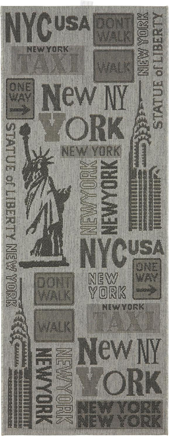 Flachwebeteppich New York Grau 80x200cm - Grau, KONVENTIONELL (80/200cm) - Mömax modern living