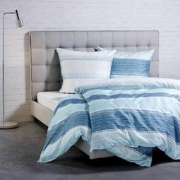 Bettwäsche Ibena Baumwollsatin - Türkis/Weiß, MODERN, Textil (155x220/80x80cm) - Ibena