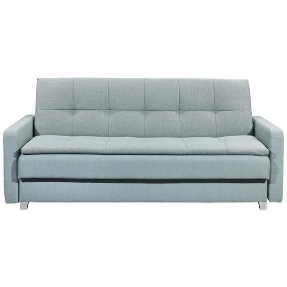 Sofa mit Schlaffunktion in Blau 'Damian' - Blau/Silberfarben, MODERN, Holzwerkstoff/Kunststoff (216/95/88cm) - Livetastic