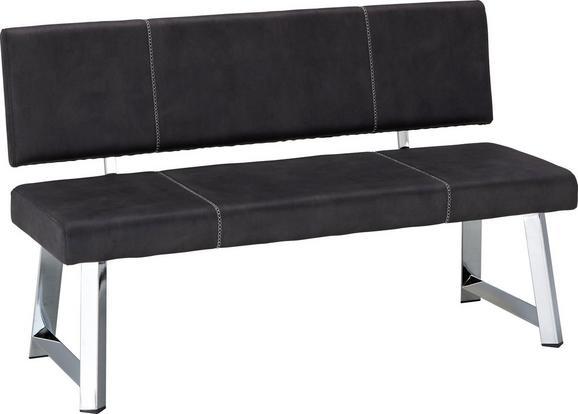 Sitzbank in Grau - Chromfarben/Weiß, MODERN, Textil/Metall (140/85/58cm) - MODERN LIVING