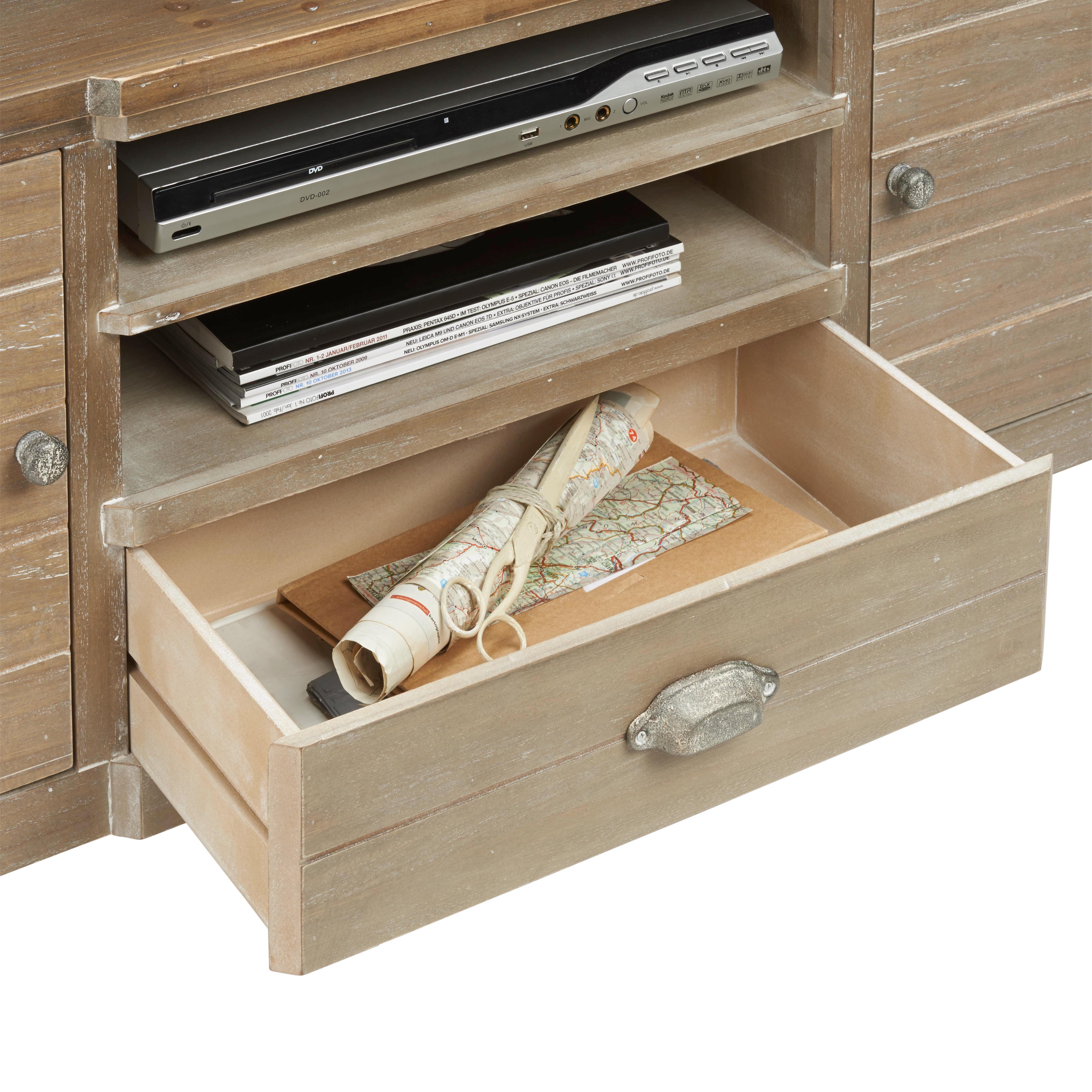 TV-Element Savannah Antik - Braun, Holz/Metall (121,5/54/36,5cm) - PREMIUM LIVING