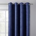 Perdea Inele Capsă Velours - albastru, Konventionell, textil (140/245cm) - Modern Living