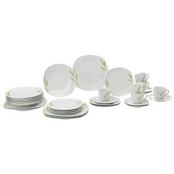 Kombiservice Bea aus Porzellan, 30-teilig - Weiß/Grün, Keramik - Mömax modern living