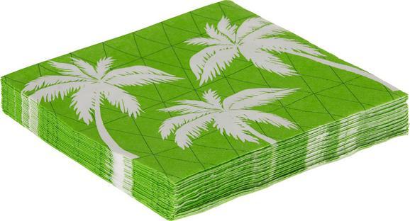 Serviette Palmen in Grün/Weiß - Weiß/Grün, Papier (33/33cm)
