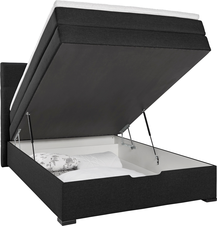 Boxspringbett in Schwarz, ca. 120x200cm - Wengefarben/Schwarz, LIFESTYLE, Holz/Holzwerkstoff (210/132/121cm) - MODERN LIVING