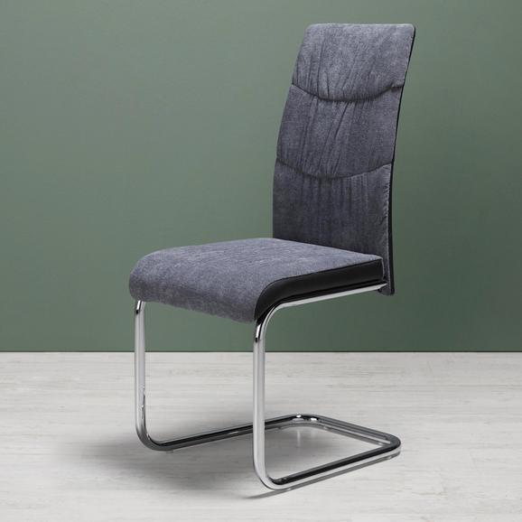 Schwingstuhl in Grau 'Jerome' - Chromfarben/Grau, MODERN, Holz/Textil (43/99/56,5cm) - Bessagi Home