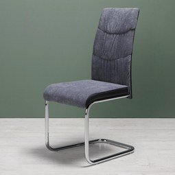 Stuhl Jerome - Chromfarben/Dunkelgrau, MODERN, Textil/Metall (43/99/56,5cm) - Mömax modern living