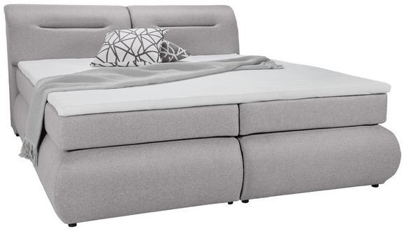 Boxspringbett Hellgrau 160x200cm - Hellgrau/Schwarz, Kunststoff/Textil (240/170/100cm) - Premium Living
