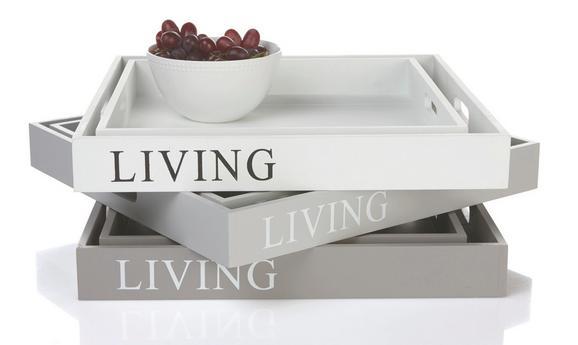 Tálca Lena - barna/fehér, romantikus/Landhaus, fa (35/35/4.7cm) - MÖMAX modern living