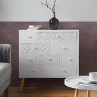 Kommode Valentina - Weiß/Pinienfarben, MODERN, Holz/Holzwerkstoff (85/89,5/35cm) - Modern Living