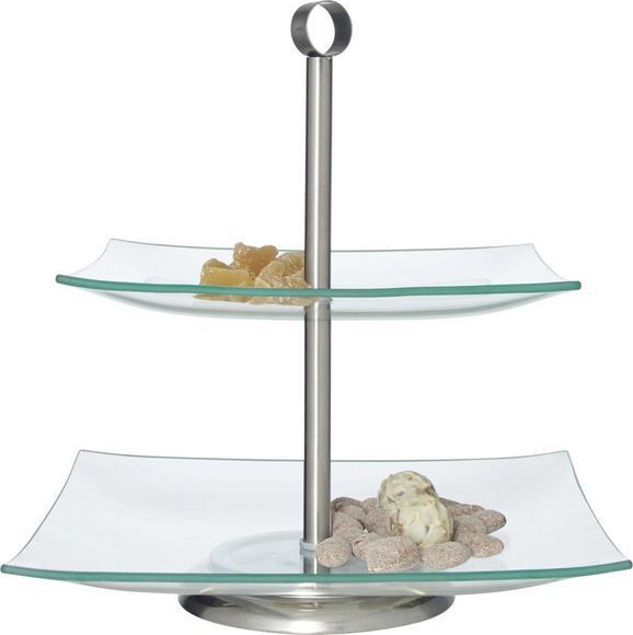Etažer Dani - prozorna/nerjaveče jeklo, kovina/steklo (25/26cm) - Mömax modern living