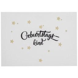 Postkarte Geburtstagskind in Weiß - Goldfarben/Schwarz, Papier (14,8/10,5cm)