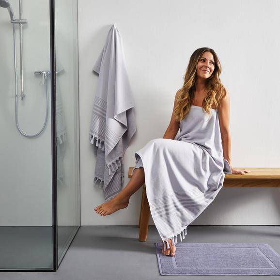 Saunatuch Mariza mit Frottier seite in Grau ca.100x200cm - Grau, MODERN, Textil (100/200cm) - Bessagi Home