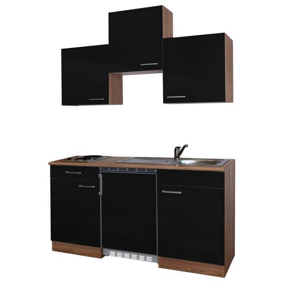 Küchenblock ECONOMY 150 - Eichefarben/Schwarz, KONVENTIONELL, Holzwerkstoff (150/200/60cm) - Livetastic