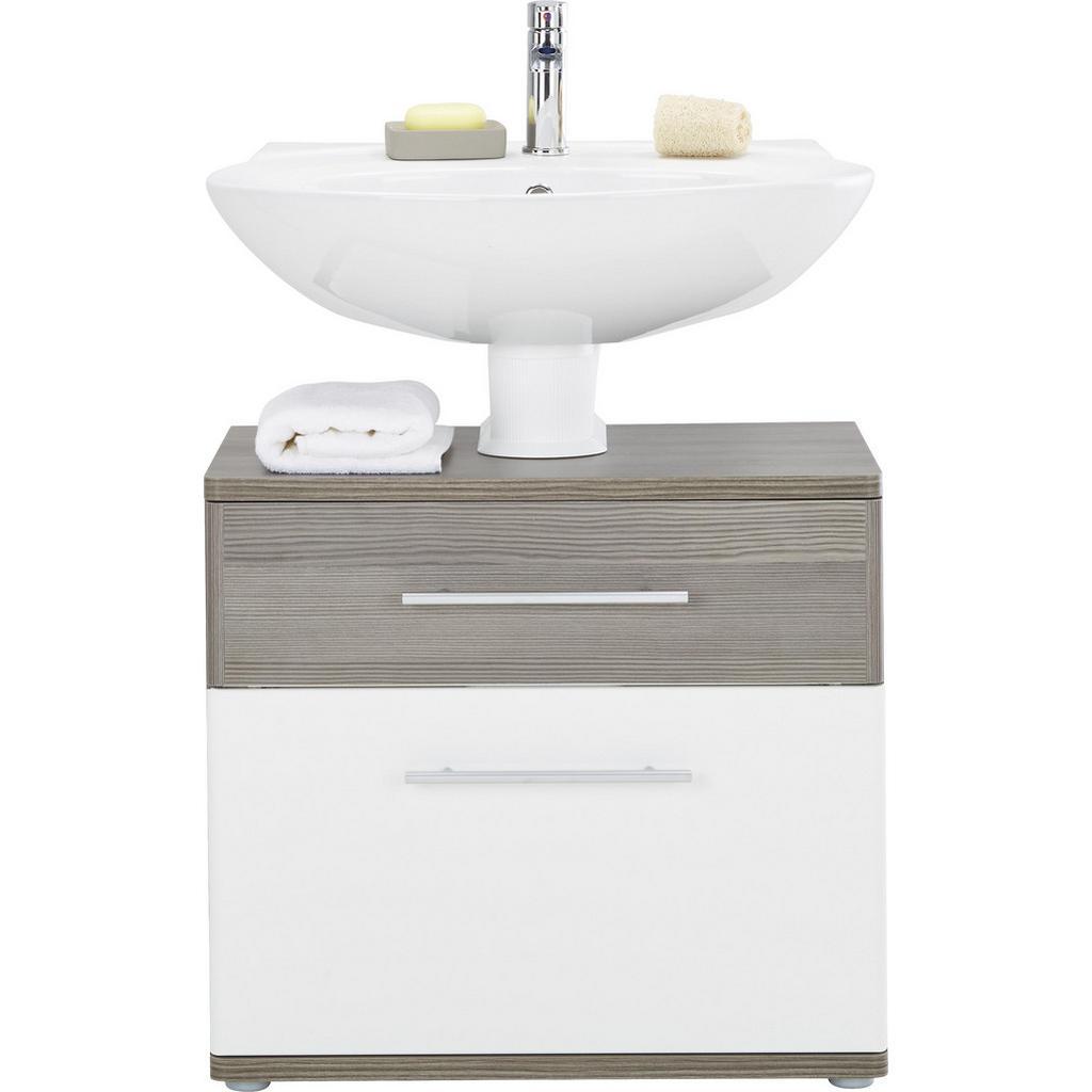 Waschbeckenunterschrank Weiß Hochglanz/braun