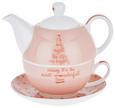Tea-for-one-set Lovelyn Rosa/Weiß/gold - Goldfarben/Rosa, Keramik - Mömax modern living