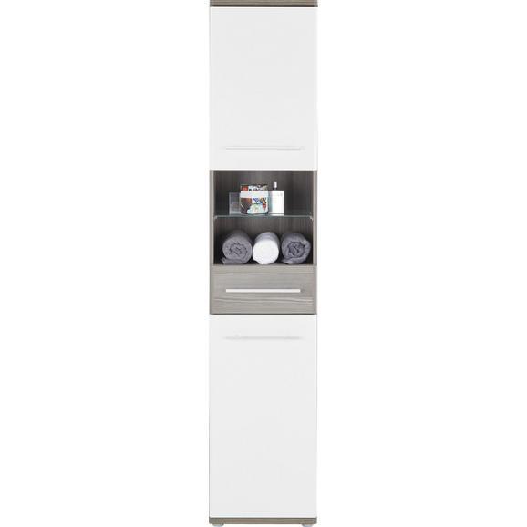 Hochschrank Weiß/Braun - Dunkelbraun/Alufarben, KONVENTIONELL, Glas/Holzwerkstoff (40/195/35cm) - Premium Living