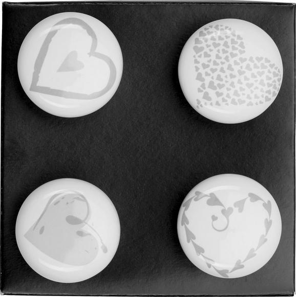 Möbelknopf Heart in Weiß/Grau aus Keramik - Weiß/Grau, Keramik (4/4/6,5cm)