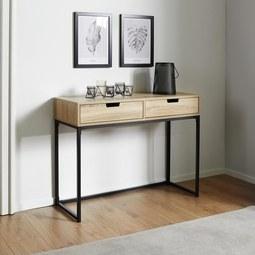 Konsolentisch Lotte - Eichefarben/Schwarz, MODERN, Holz/Metall (100/76/38cm) - Mömax modern living