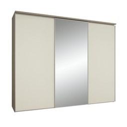 Schwebetürenschrank in Magnolieglas mit Spiegel - Hellbraun/Magnolie, LIFESTYLE, Glas/Holzwerkstoff (249/222/68cm) - Premium Living