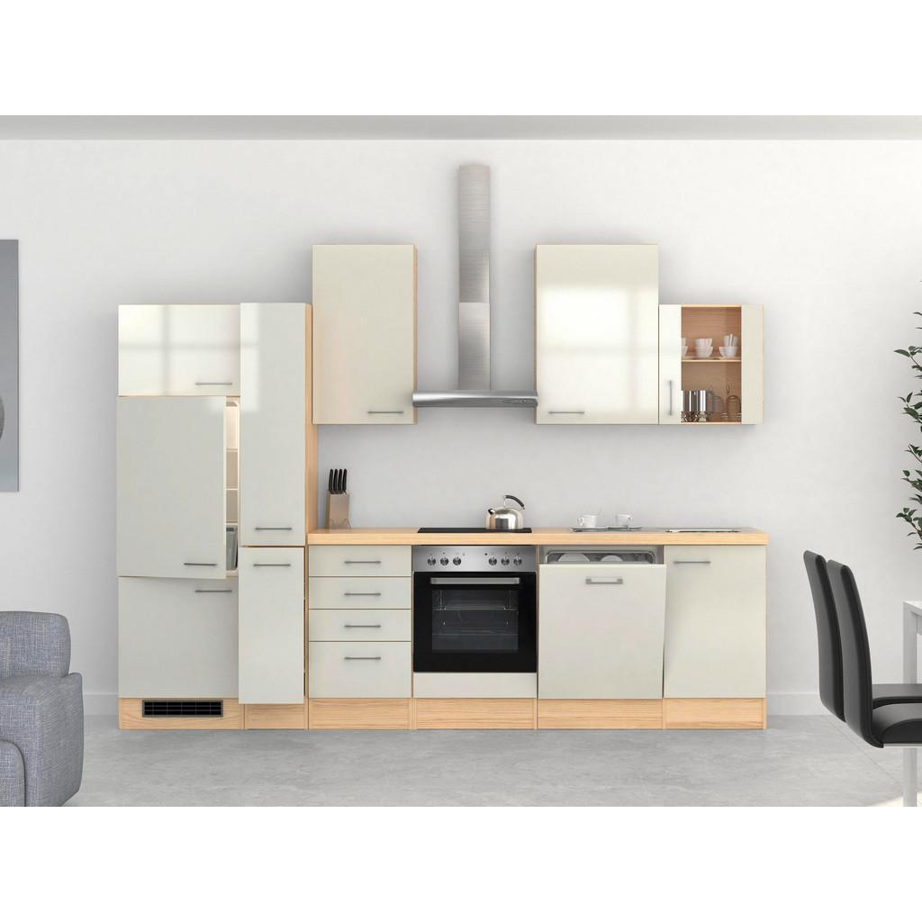 Küchenblock in Akazie/Perlmutt inkl. Geräte und Spüle 'Abaco'