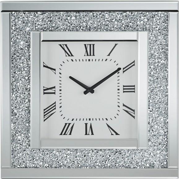 wanduhr diamant ca 51x51x12cm silberfarben modern glasholz 51 - Wanduhr Modern