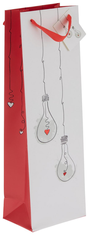 Geschenktasche Jana Rot/Weiß - Rot/Weiß, Papier (12/37/8cm)