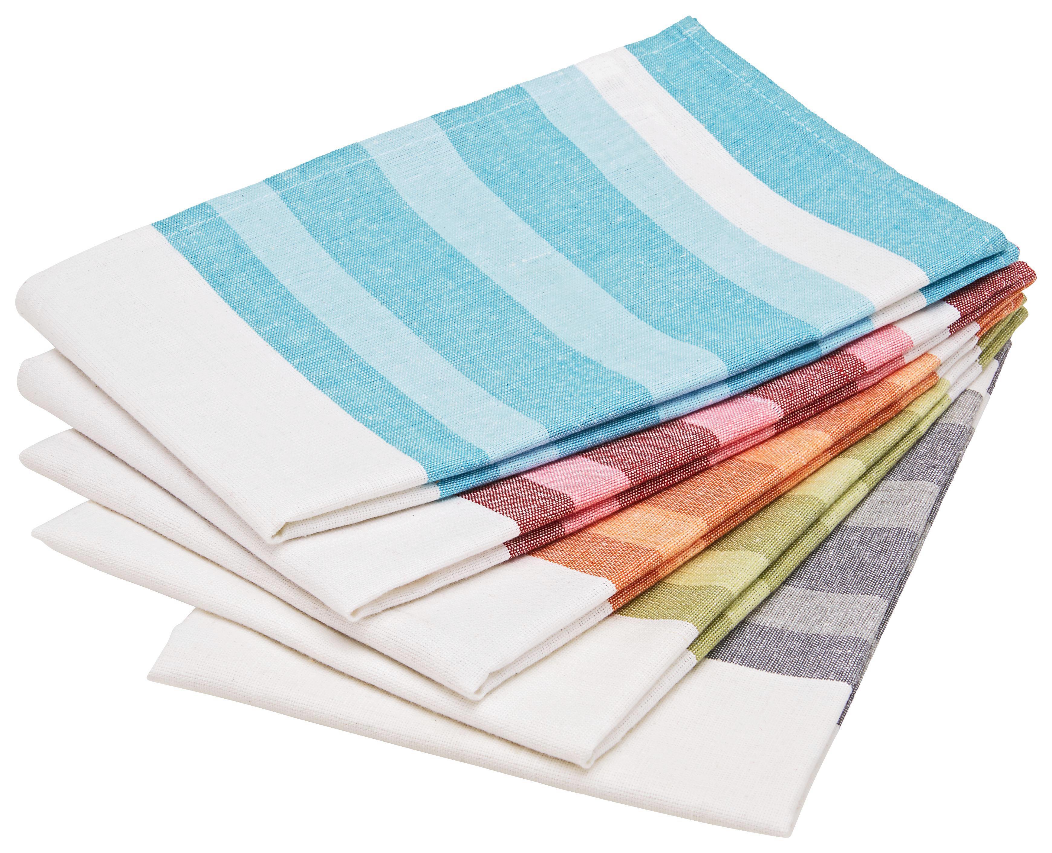 Geschirrtuch-set Streif in verschiedenen Farben - Türkis/Rot, Textil (50/70cm) - MÖMAX modern living