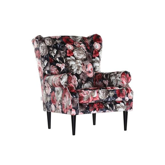 Ohrensessel mit Blumenmotiv - Multicolor/Schwarz, ROMANTIK / LANDHAUS, Textil (82/95/48/85cm) - Premium Living